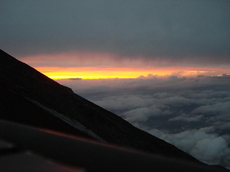 The sun setting below the clouds on Mt. Fuji was amazing.