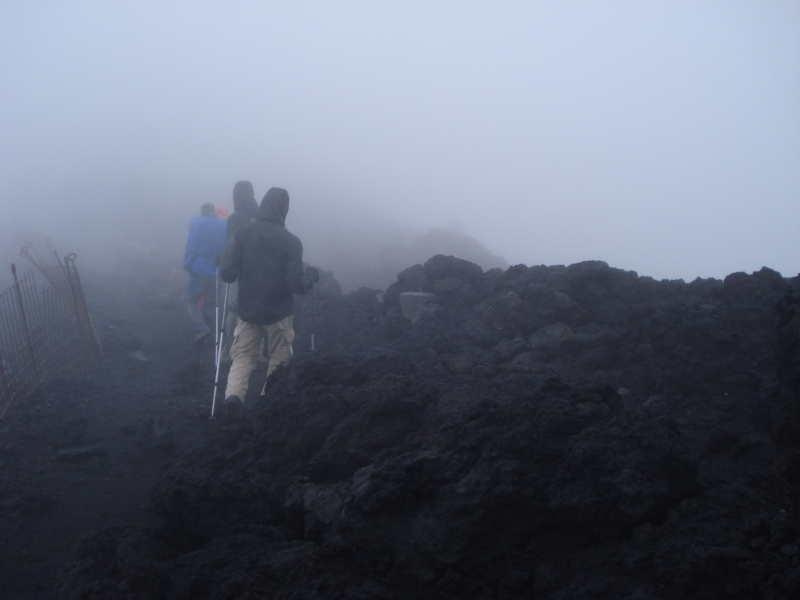 Rocks, mist and wind is all you seem to have here, but there is actually a post office on the summit of Mt. Fuji as well.